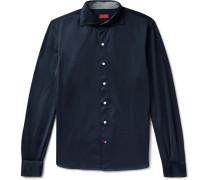 Slim-fit Cotton-jersey Shirt - Midnight blue