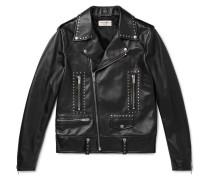 Slim-fit Studded Leather Biker Jacket - Black