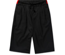 Wide-leg Pleated Virgin Wool Drawstring Shorts - Black