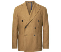 Brown Double-Breasted Linen Suit Jacket