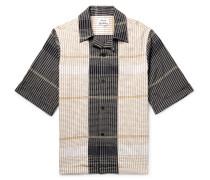 Camp-collar Checked Cotton-blend Shirt - Cream