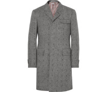 Embroidered Herringbone Wool Coat