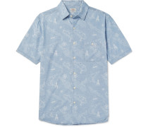 Printed Cotton Shirt - Blue