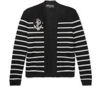 Appliquéd Striped Knitted Cardigan