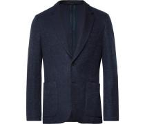 Navy Soho Slim-fit Unstructured Textured-cotton Blazer - Navy