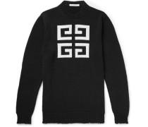 Distressed Logo-intarsia Cotton Sweater - Black