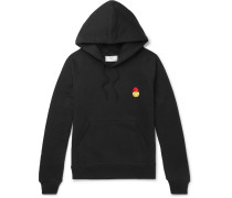 + The Smiley Company Appliquéd Loopback Cotton-jersey Hoodie
