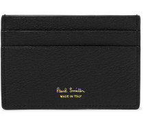 Stripe-Trimmed Textured-Leather Cardholder