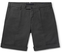 Slim-fit Garment-dyed Linen And Cotton-blend Shorts