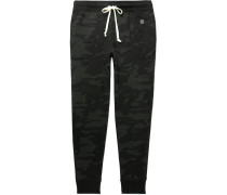 Slim-Fit Tapered Camouflage-Print Loopback Cotton-Jersey Sweatpants