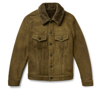 Slim-fit Shearling Trucker Jacket - Army green