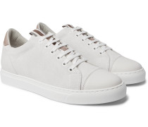 Leather-Trimmed Brushed-Suede Sneakers