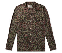 Camp-collar Leopard-print Cotton And Lyocell-blend Shirt - Army green