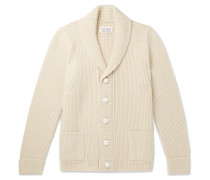 Shawl-collar Wool Cardigan - Cream