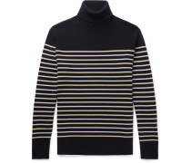 Striped Cashmere Rollneck Sweater - Navy