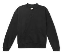 Oversized Loopback Cotton-jersey Henley Sweatshirt - Black
