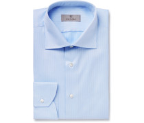 Light-Blue Slim-Fit Micro-Herringbone Cotton Shirt