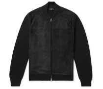 Ribbed Merino Wool And Suede Bomber Jacket