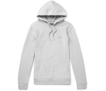 Logo-embroidered Mélange Loopback Cotton-jersey Hoodie - Gray