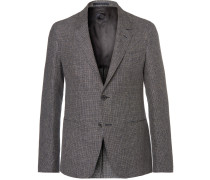 Blue Butterfly Slim-fit Unstructured Checked Linen Blazer