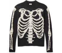 Skeleton-intarsia Wool Sweater