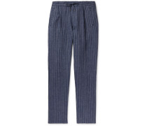Tapered Pleated Pinstriped Linen Drawstring Trousers - Blue