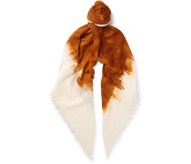 Fringed Watercolour-dyed Wool And Silk-blend Scarf