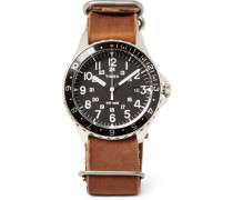 Navi Ocean Stainless Steel And Stonewashed-leather Watch
