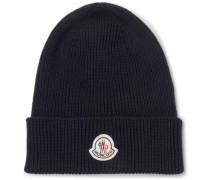Logo-appliquéd Ribbed Virgin Wool Beanie - Navy