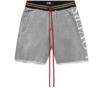 Printed Mélange Loopback Modal And Cotton-blend Jersey Drawstring Shorts