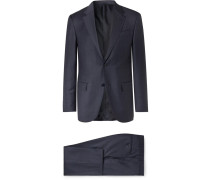 Navy Easy Slim-fit Mélange Wool And Silk-blend Suit - Navy