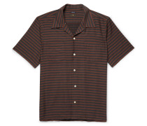 Camp-collar Striped Cotton-blend Twill Shirt