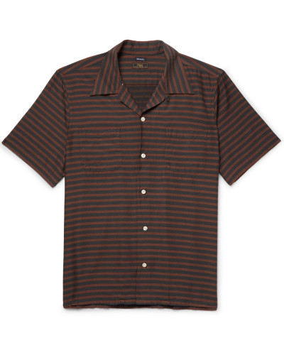 Camp-collar Striped Cotton-blend Twill Shirt - Brown
