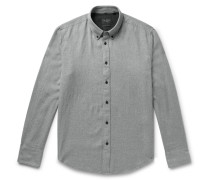 Fit 2 Tomlin Button-down Collar Cotton And Linen-blend Twill Shirt - Gray