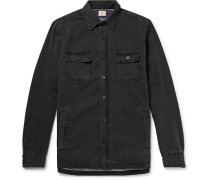 Cpo Flannel-lined Washed-denim Shirt Jacket - Black