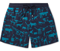 Moorea Mid-length Flocked Swim Shorts