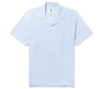 Miyagi Camp-Collar Striped Seersucker Shirt