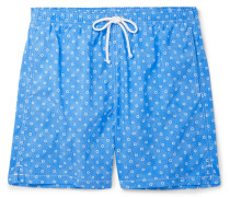 Slim-fit Mid-length Floral-print Swim Shorts - Turquoise