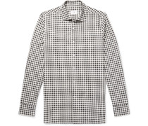 Slim-fit Gingham Cotton-flannel Shirt - Gray