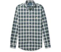 Slim-fit Button-down Collar Checked Cotton-poplin Shirt