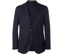 Blue Slim-fit Wool-hopsack Blazer - Navy