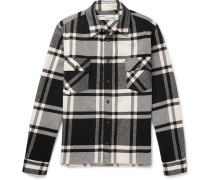 Printed Checked Cotton-blend Flannel Overshirt - Black