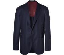 Navy Unstructured Wool, Silk And Cashmere-blend Blazer