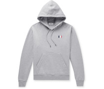 Slim-Fit Logo-Embroidered Mélange Loopback Cotton-Jersey Hoodie