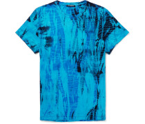 Slim-fit Distressed Tie-dyed Cotton-jersey T-shirt - Blue