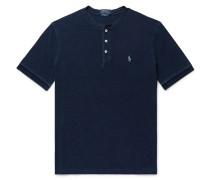 Indigo-dyed Mélange Cotton-piqué Henley T-shirt - Indigo