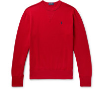 Fleece-back Cotton-blend Jersey Sweatshirt - Red
