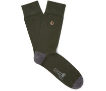 Colour-Block Cotton-Blend Socks