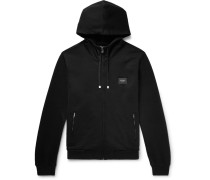 Cotton-jersey Zip-up Hoodie - Black