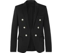 Black Slim-fit Double-breasted Stretch-jersey Blazer - Black